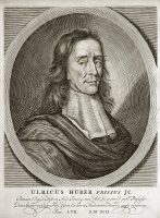 Ulrik Huber (1636-94), Dutch jurist. Huber was born at Franeker in Friesland and went to university there, at Utrecht and Heidelberg. In 167 he was appointed professor of eloquence and history at Franeker and in 1665 professor of law. His major work, De jure civitatis, is best known for its discussion of slavery, Huber considers those for whom slavery is justified to include the captives of war, certain convicts, those who voluntarily give up their liberty and the children of female slaves. He also wrote on the concepts of Roman law and collated a summary of Fresian law in 1686. This engraving comes from Huber's Praelectionum juris of 1689.